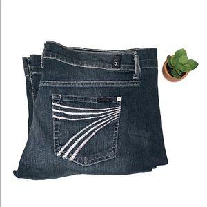7FAM Dojo Purple Stitch Flare Leg Jeans